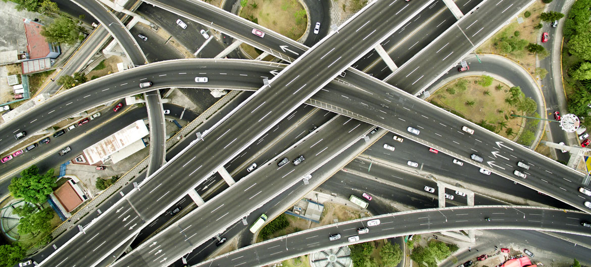 A network of roads cross over each other.